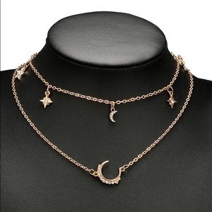 New moon stars layer necklaces